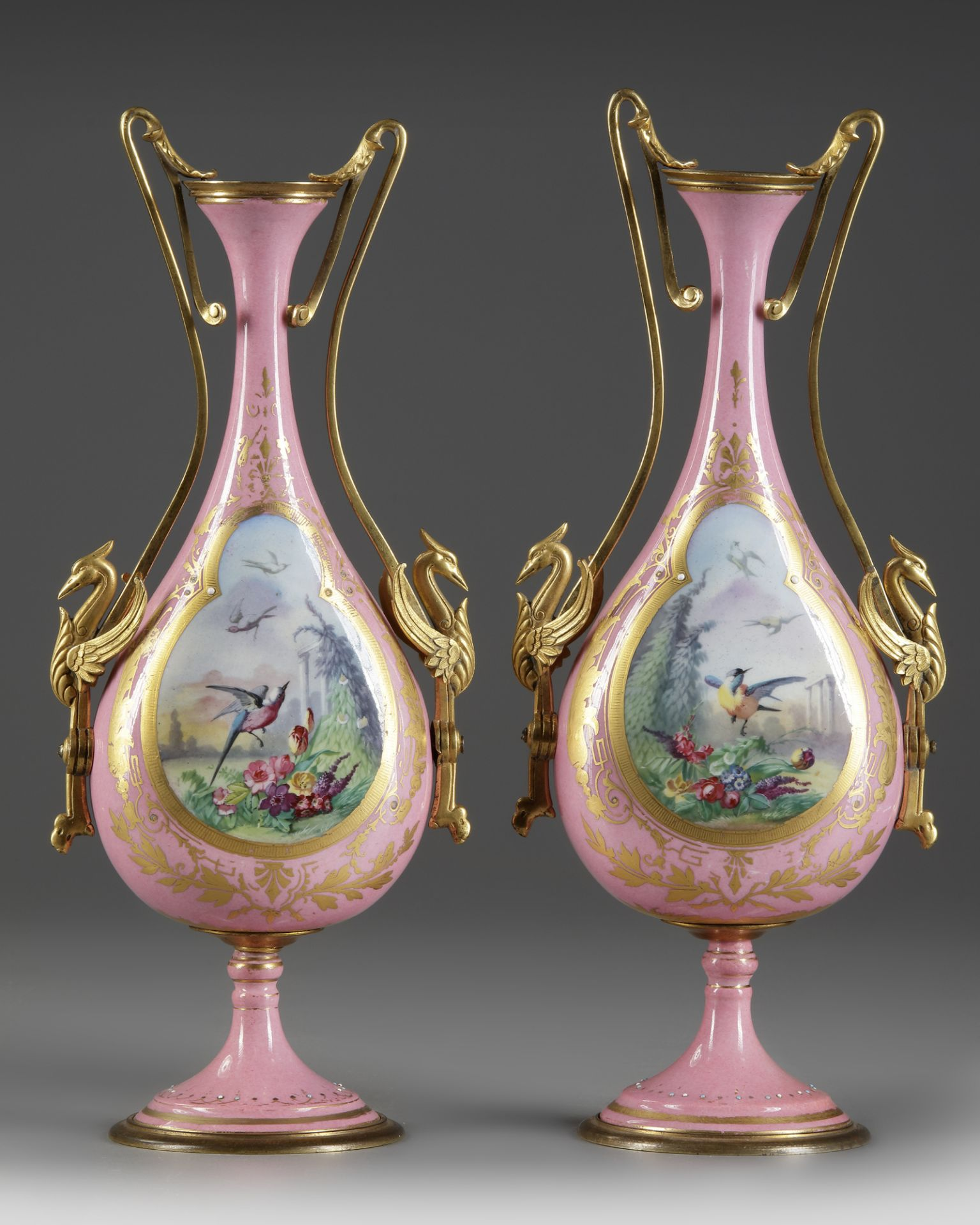 A PAIR OF FRENCH PINK SEVRES VASES, LATE 19TH CENTURY - Image 2 of 4