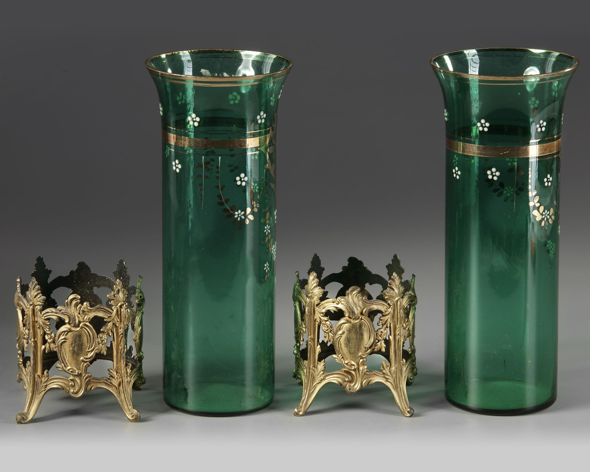 A PAIR OF GREEN GLASS VASES, LATE 19TH CENTURY - Image 3 of 3