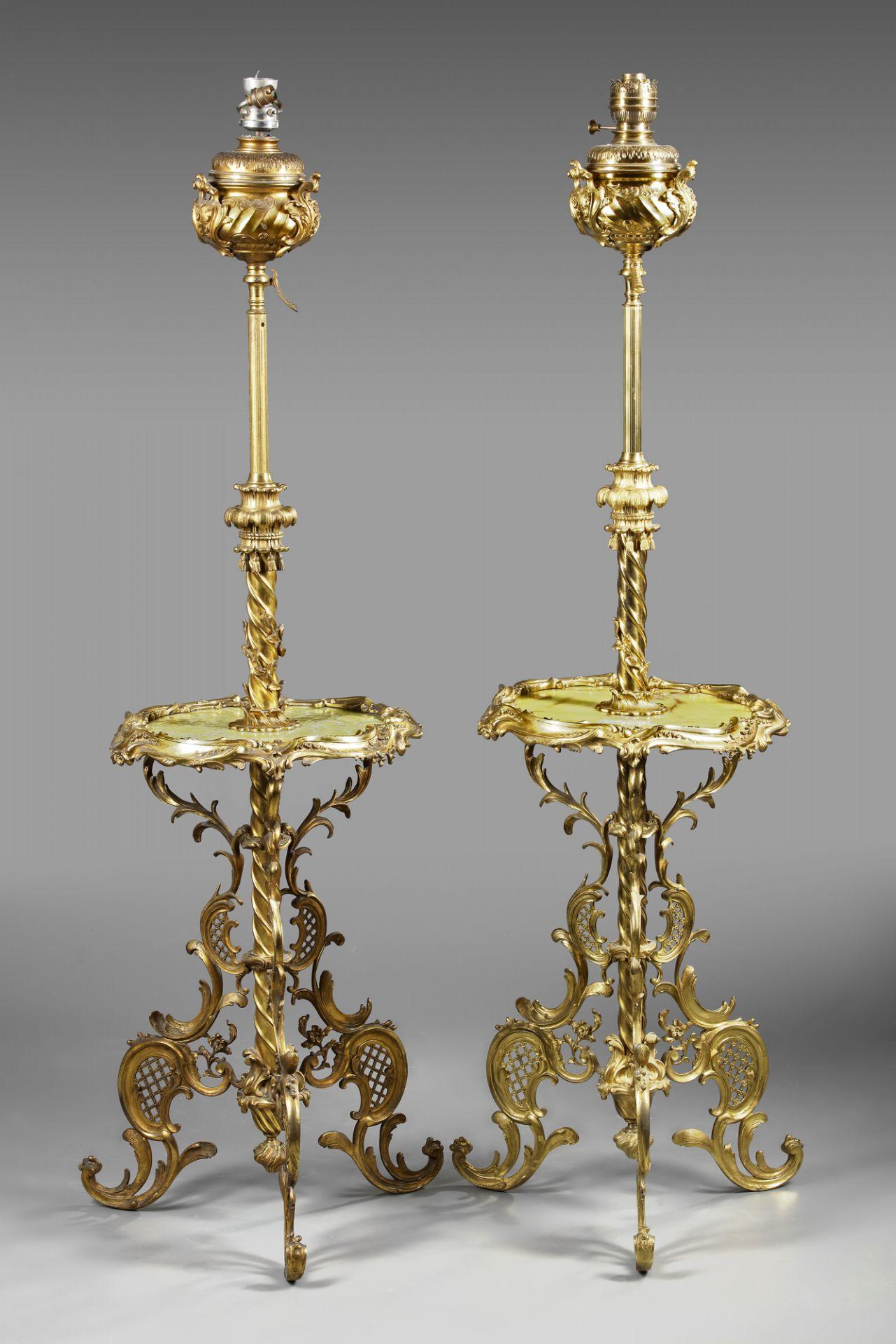 A PAIR OF ORMOLU FLOOR LAMPS, 19TH CENTURY