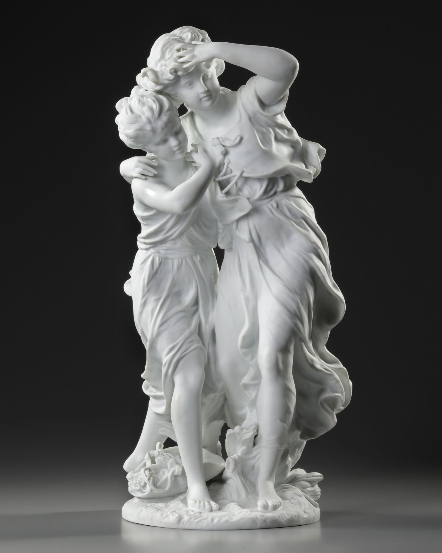 A FRENCH BISCUIT STATUE, SIGNED BY MOREAU (1834-1917)