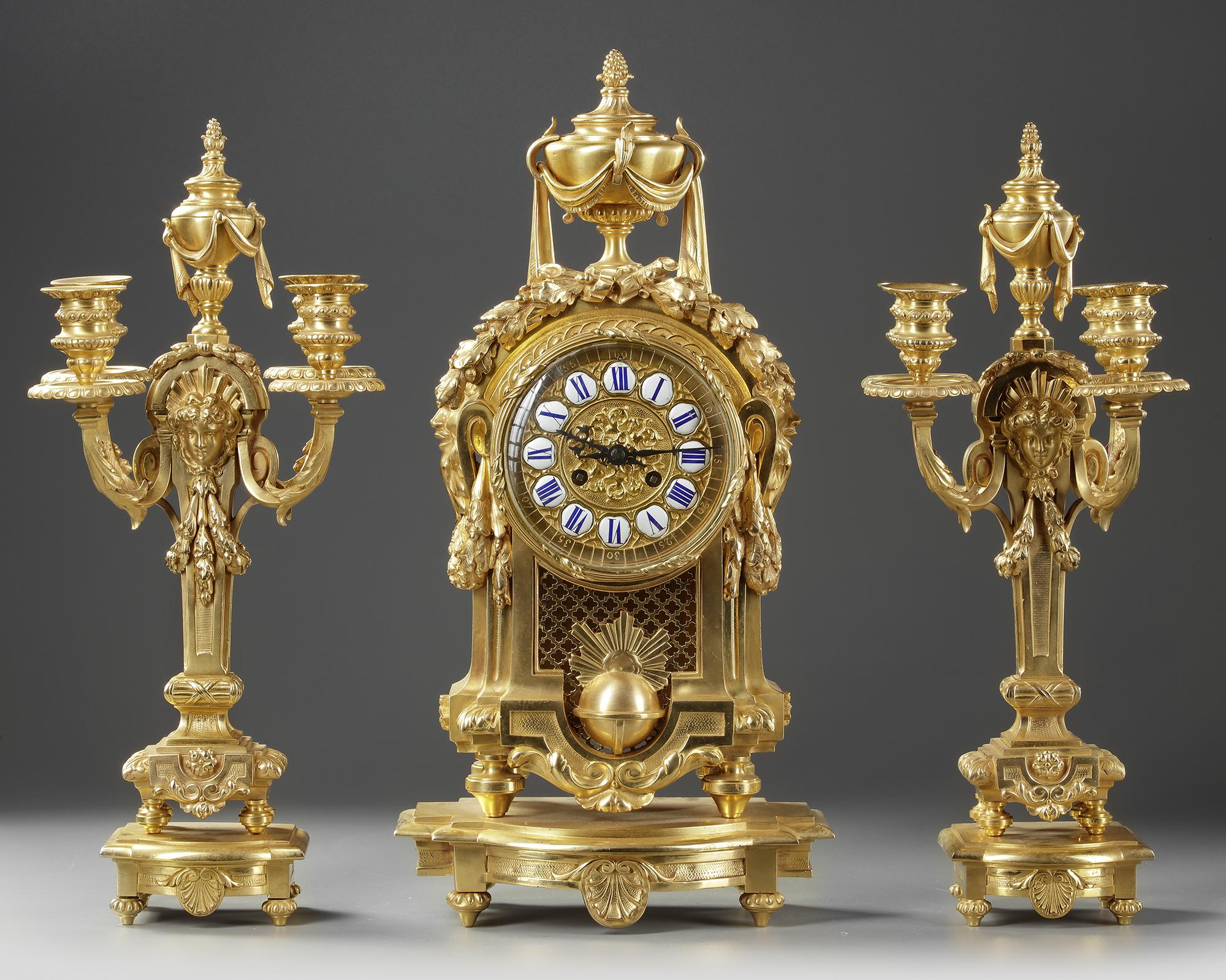 A FRENCH ORMOLU CLOCK SET, NAPOLEON III STYLE