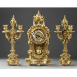 A FRENCH ORMOLU CLOCK SET, NAPOLEON III STYLE