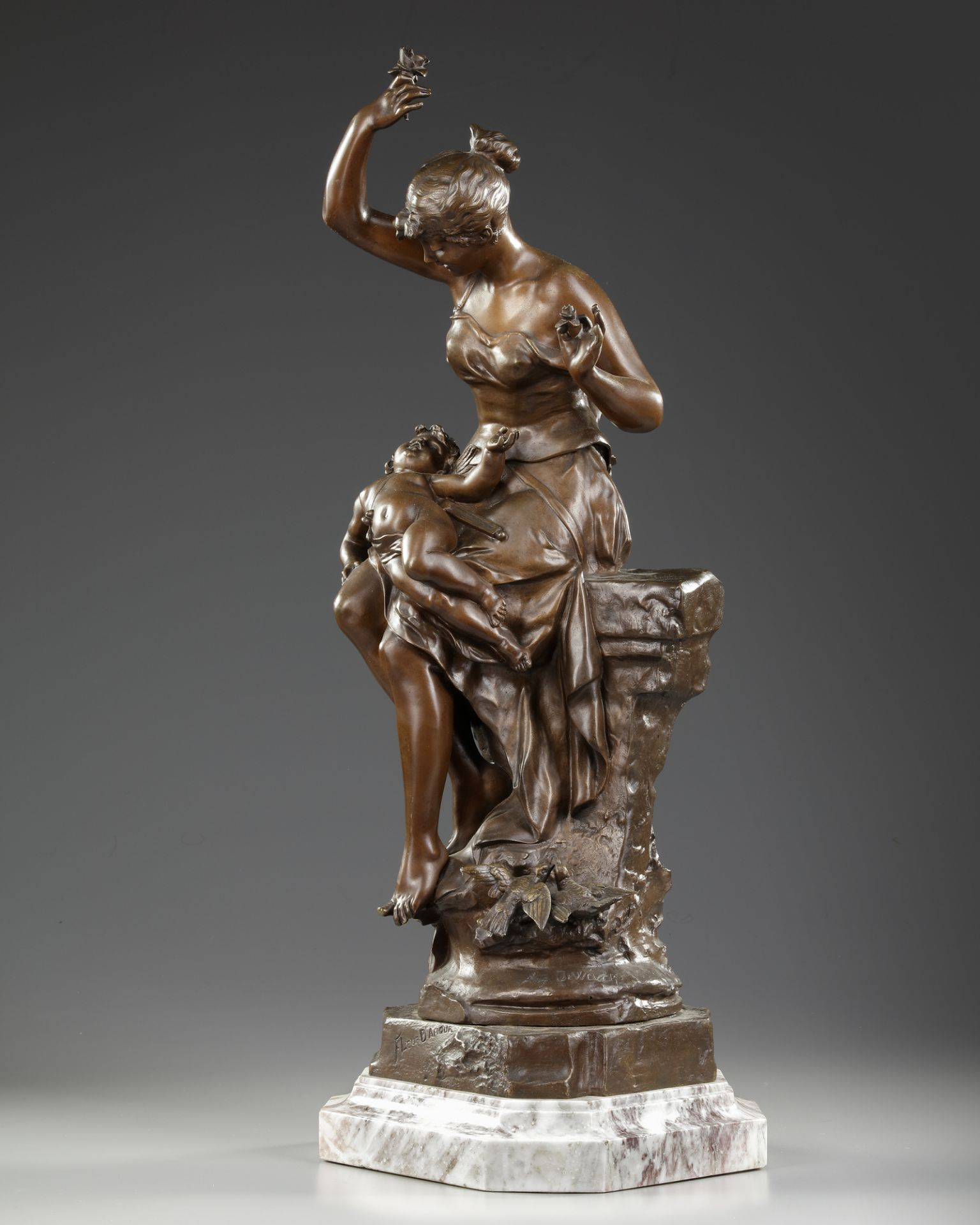 A BRONZE STATUE, AUGUSTE DEWEVER, LATE 19TH CENTURY - Image 2 of 5