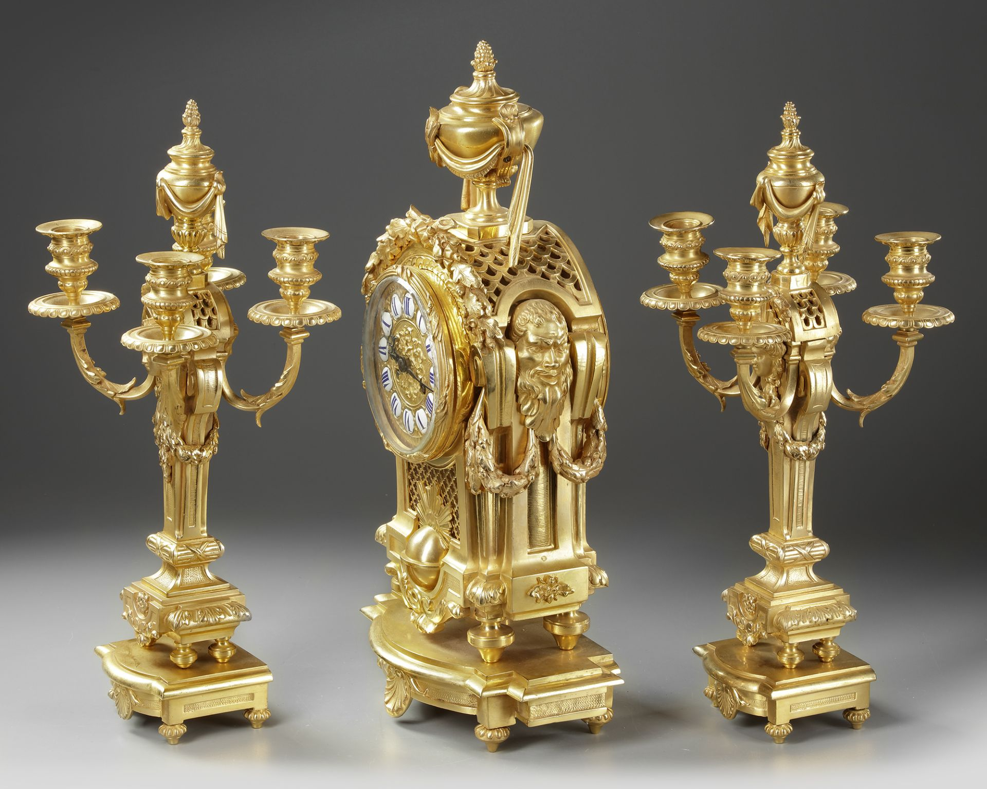 A FRENCH ORMOLU CLOCK SET, NAPOLEON III STYLE - Image 2 of 4