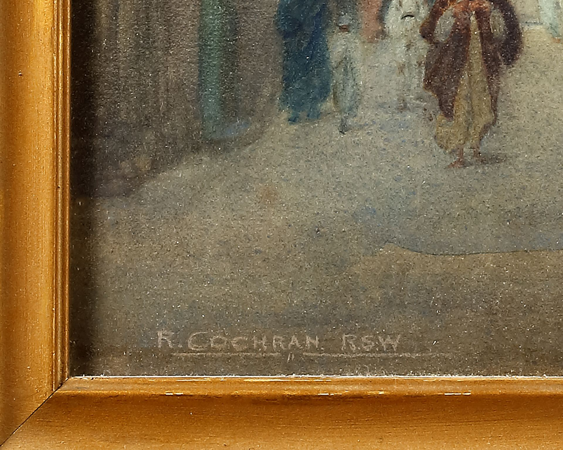 A PAINTING DEPICTING VARIOUS FIGURES NEAR THE MOSQUE IN CAIRO, 19TH-20TH CENTURY - Image 3 of 3