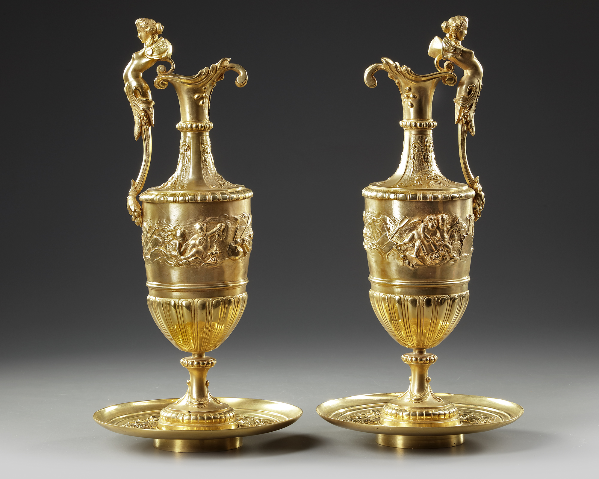 A PAIR OF FRENCH GILT BRONZE EWERS, 19TH CENTURY