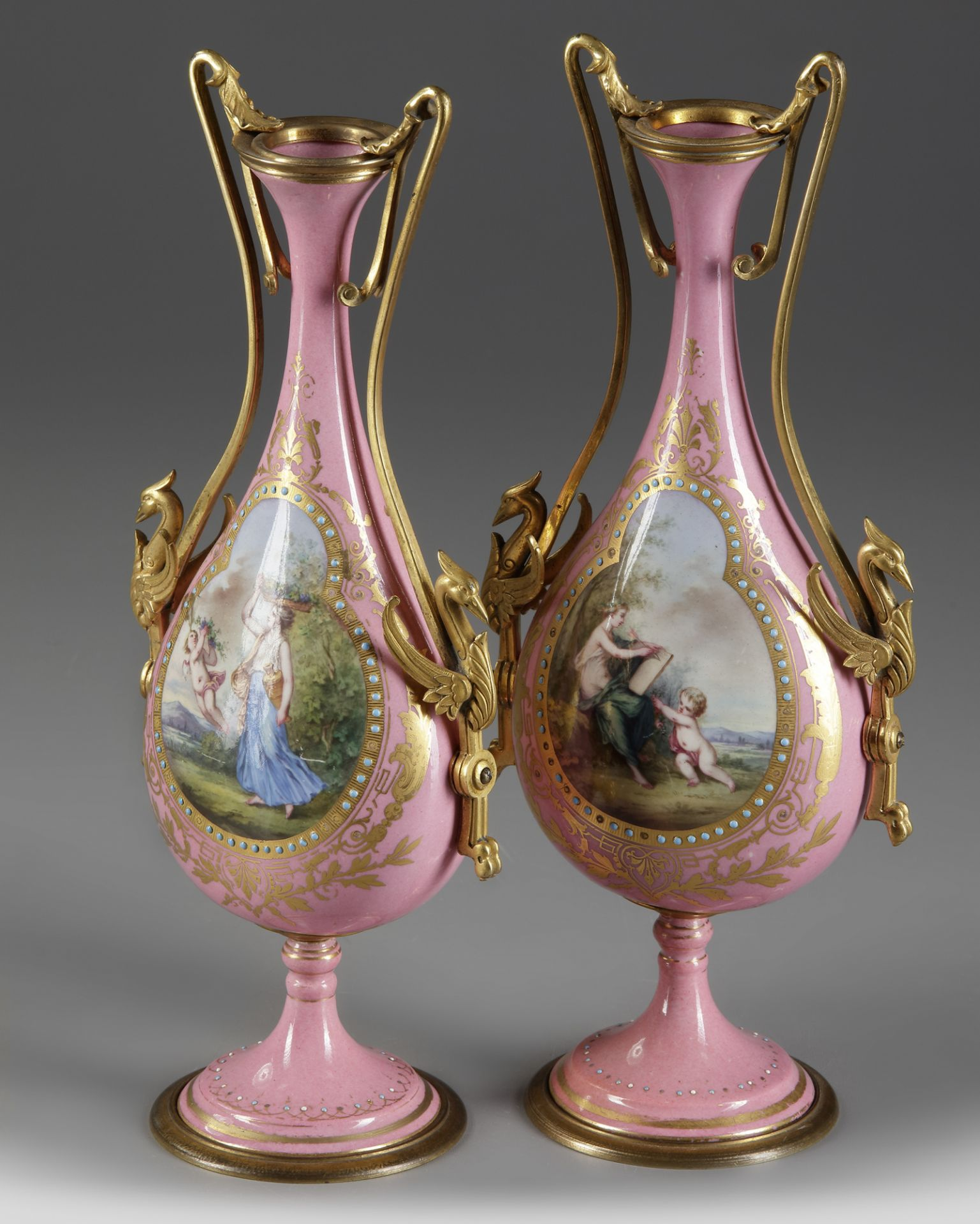 A PAIR OF FRENCH PINK SEVRES VASES, LATE 19TH CENTURY - Image 4 of 4