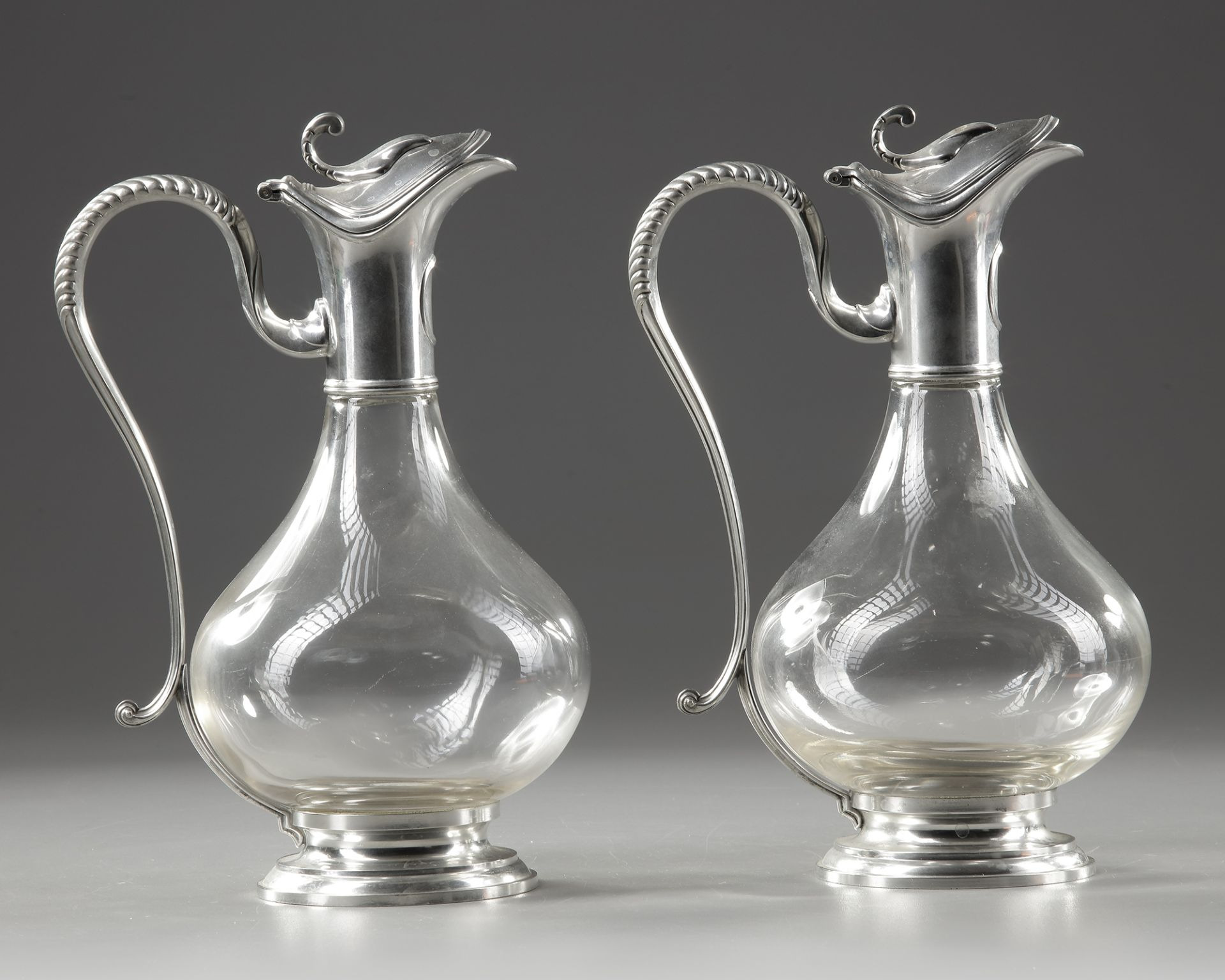 A PAIR OF CRYSTAL AND SILVER METAL EWERS, LATE 19TH CENTURY - Image 2 of 3