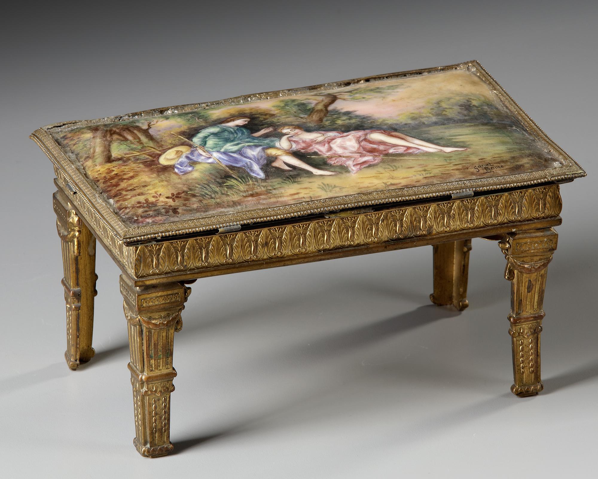 AN AUSTRIAN ENAMEL MINIATURE TABLE WITH PERFUME VIAL, LATE 19TH CENTURY