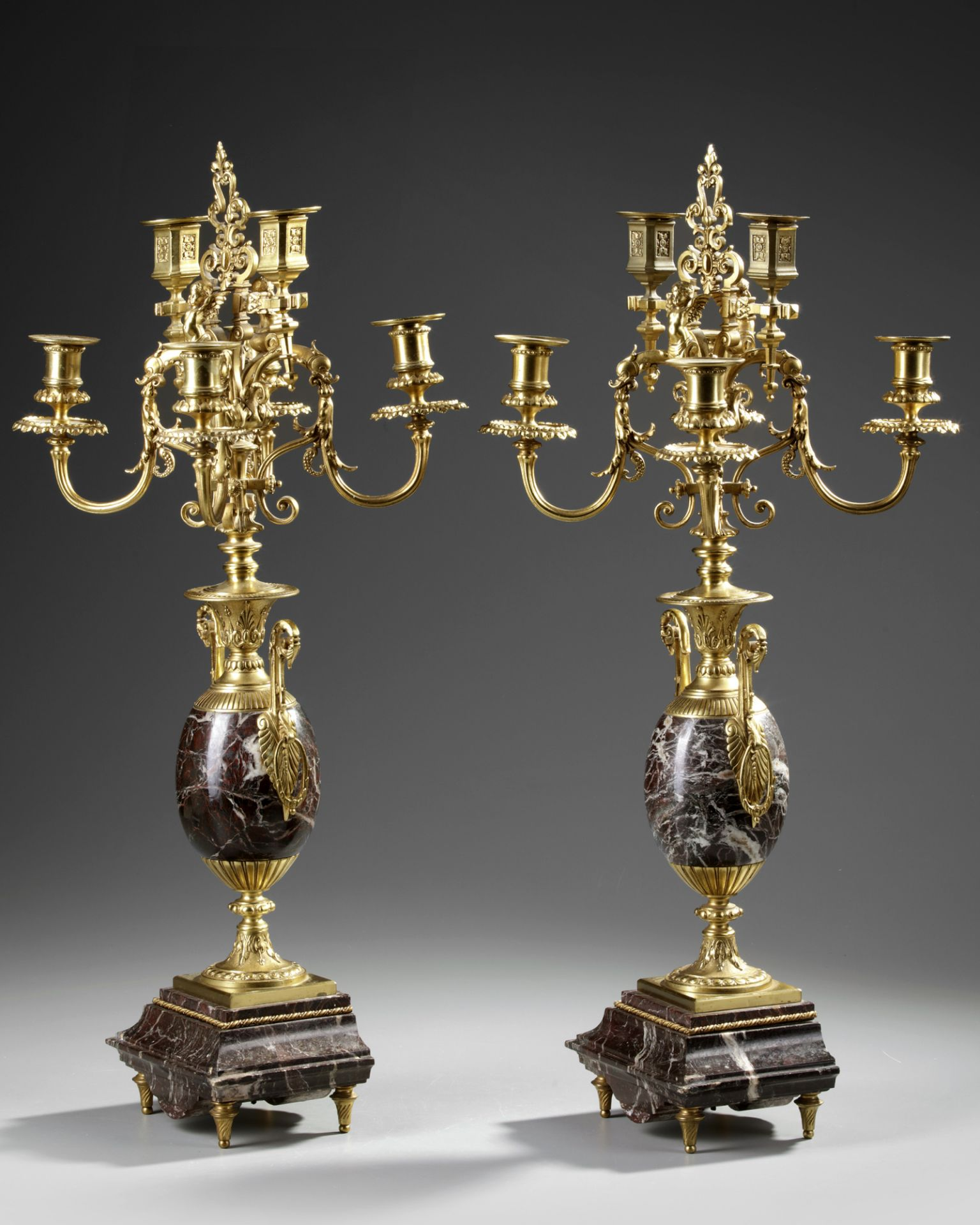A PAIR OF FRENCH GILT CANDELABRAS.LATE 19TH CENTURY