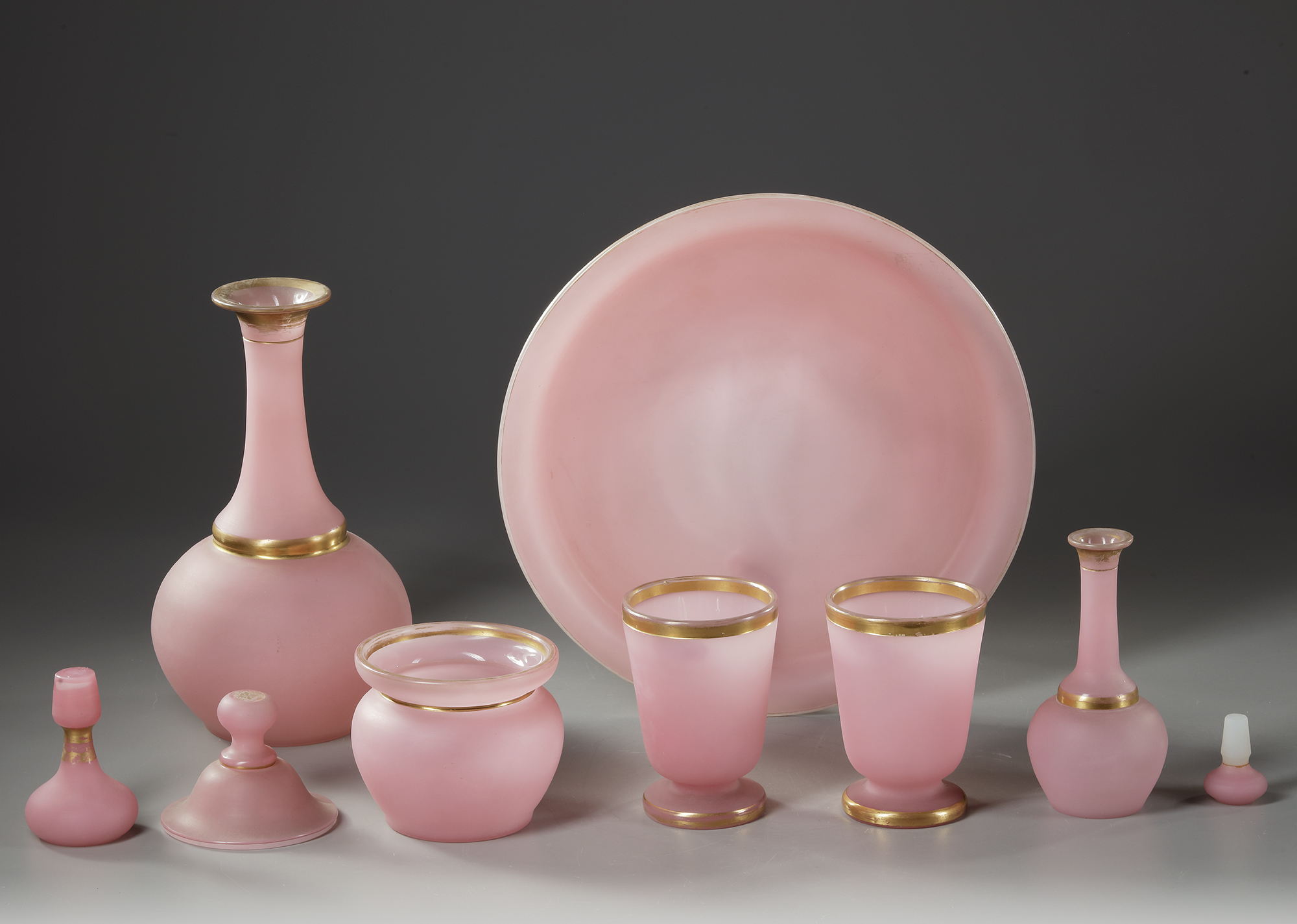 A FRENCH PINK OPALINE SERVICE SET,19TH CENTURY - Image 3 of 3