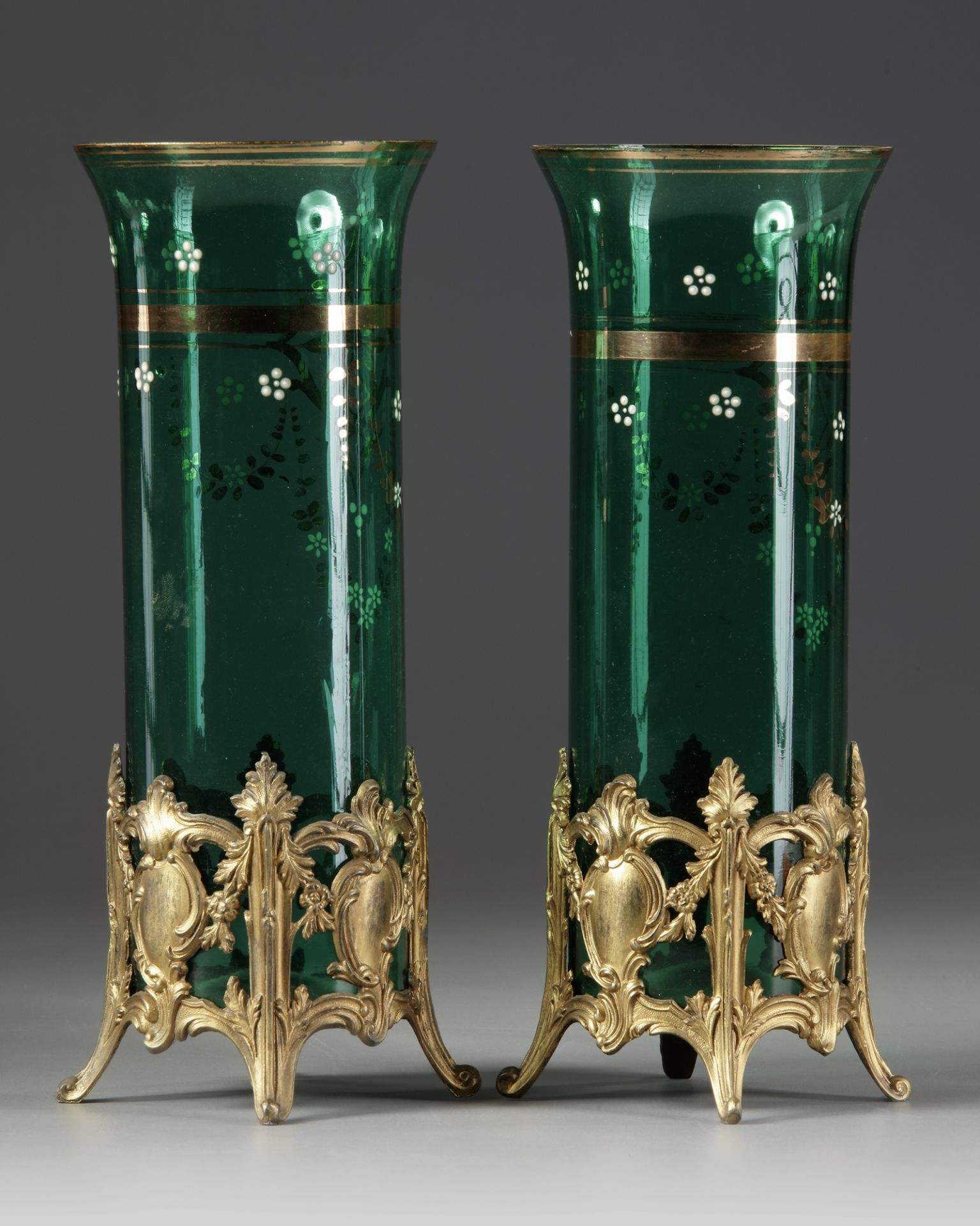 A PAIR OF GREEN GLASS VASES, LATE 19TH CENTURY - Image 2 of 3