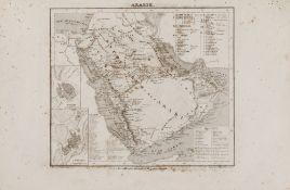 A RARE NON COLORED PRINTED FRENCH MAP OF THE ARABIC WORLD DURING THE OTTOMAN EMPIRE (ARABIA PENINSUL