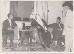 FOUR RARE PHOTOGRAPHS OF THE KINGS FAISAL II OF IRAQ AND SAUD BIN ABD AL-AZIZ, WITH SOME ROYALS AND