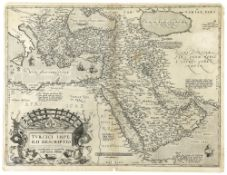A VINTAGE ORIGINAL MAP OF THE OTTOMAN EMPIRE BORDERS INCLUDING THE ARABIA PENINSULA AND NORTH AFRICA