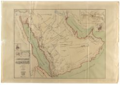 AN IMPORTANT DETAILED MILITARY OTTOMAN MAP OF THE ARABIAN PENINSULA, ESPECIALLY DIR'IYAH, DATED 1325