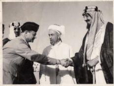 FIVE IMPORTANT PHOTOGRAPHS OF THE HISTORICAL VISIT OF KING ABDULLAH BIN AL-HUSSEIN TO SAUDI ARABIA M