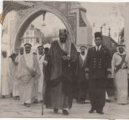 TWO ORIGINAL VERY IMPORTANT AND RARE PHOTOGRAPHS OF KING ABDULAZIZ AL SAUD ON TWO DIFFERENT OFFICIAL
