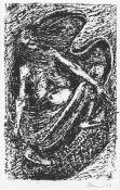 Cremer, Fritz. aus dem Zyklus Walpurgisnacht, Blatt 15: Fliegende Hexe im Waschkorb