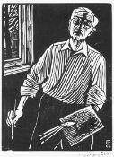 Felixmüller, Conrad. Selbstbildnis mit Pinsel und Palette(am Fenster stehend)