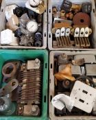 (6) Trays of Brass Contactors, Hour Meters, More