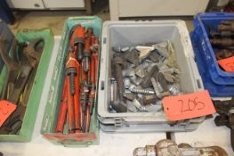 Assorted Pipe Wrenches & Crescent Wrench Parts