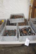 Five bins of steel Pipe Fittings