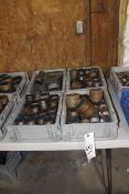 Four Bins of Steel Pipe Fittings