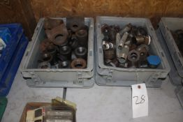 Two Bins of Steel Pipe Fittings