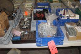 Bins of Assorted Pipe Plugs, Fittings & Bearings