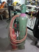 Oxy Acetylene Tanks with Victor CA-1050 Torch Head, Victor Regulators and Leads on cart.