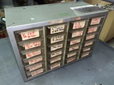 24-Compartment Parts Cabinet with Assorted End Mills, Drill Bits, Boring Bars etc