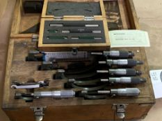 """Mitutoyo OD Micrometer Set 0""""-6"""" Complete with Box"""