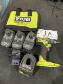 """Ryobi Cordless 1/4"""" Impact Driver model PSB1D01CN w/charger and 3 batteries"""