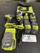 """Ryobi 2 1/2"""" Grinder and 1/4"""" Impact Driver 30 mm w/charger and 5 batteries"""