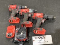 """(2) Craftsman 1/2"""" Drill Drivers, 1/4"""" Impact Driver, w/2 batteries and charger"""