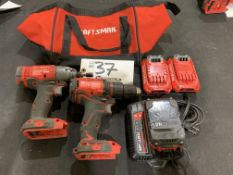 """Craftsman 1/4"""" Cordless Impact Driver, 1/2"""" Drill Driver w/2 batteries, charger and bag"""