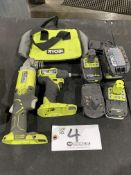 """Ryobi 1/4"""" Impact Driver 4 1/2"""" Right Angle Grinder w/4 batteries"""