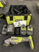 """Ryobi Cordless 4 1/2"""" Right Angle Grinder model P423 w/charger and 4 batteries"""