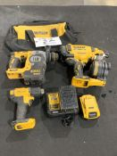 """DeWalt Cordless Roofing Nailer, Heat Gun, 1"""" Brushless Hammer Drill w/2 batteries and charger 20v"""