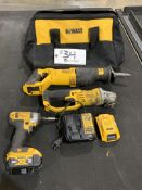 """DeWalt Cordless 5"""" Right Angle Grinder, Sawzall, 1/4"""" Impact Driver w/2 batteries, charger and bag"""