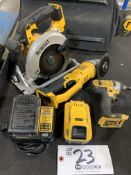 """DeWalt 5"""" Cordless Circular Saw, 5"""" Right Angle Grinder and 1/4"""" Impact w/2 20v batteries and charge"""
