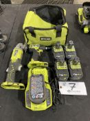 """Ryobi 1/4"""" Impact Driver 4 1/2"""" Right Angle Grinder w/30mm Charger and 5 batteries 18v"""