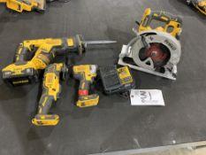 "DeWalt Cordless Sawzall 7"" Circular Saw, Oscillating Toll, 1/4"" impact Driver w/2 belts and charger"