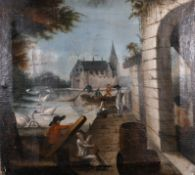 18th Century Northern European School. A Harbour Inlet with Figures and Swans, Oil on Canvas,