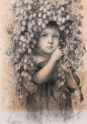 E… W… R… (20th Century) British. A Young Girl with a Garland of Hops, Pencil, Signed with Initials