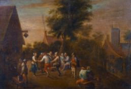 "Circle of Theobald Michau (1676-1765) Belgian. Figures Revelling by a Tavern, Oil on Copper, 7.25"" x"