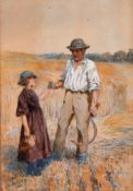 Henry Townley Green (1836-1899) British. A Man and Child in a Harvest Field, Watercolour, Signed,