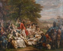 "18th Century French School. Figures at a Garden Banquet, Oil on Canvas, 19.75"" x 24"" (50 x 61cm)"