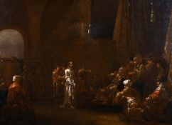 "Late 17th Century Dutch School. 'Christ before Caiaphas', Oil on Panel, 19"" x 25"" (48.2 x 63.5cm)"